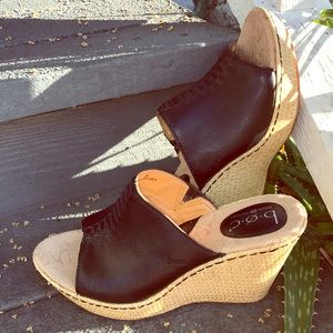 BOC Born black leather platform wedges size 9